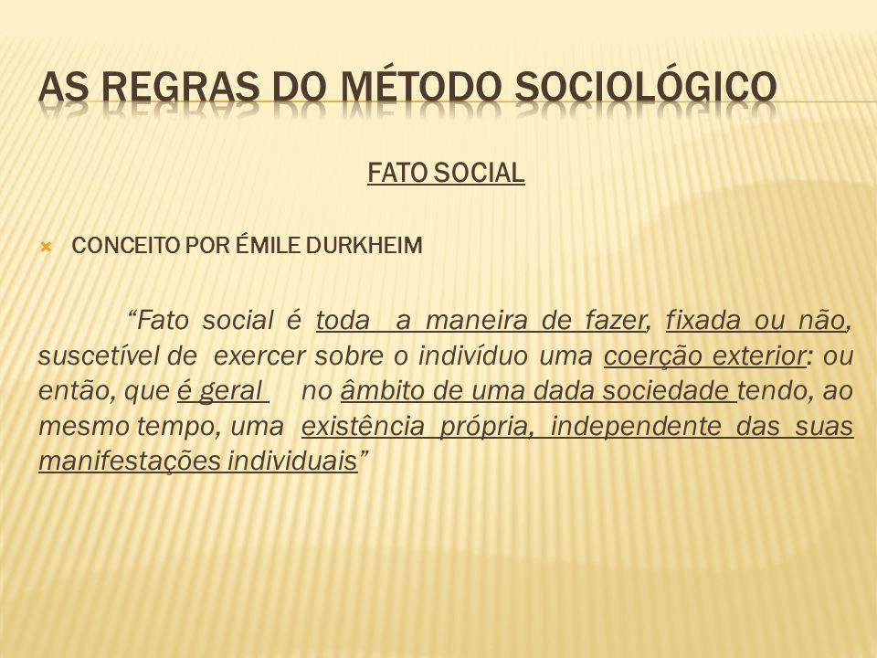 FATO SOCIAL CONCEITO POR ÉMILE DURKHEIM Fato social é toda a maneira de fazer, fixada ou não, suscetível de exercer sobre o indivíduo uma coerção exte