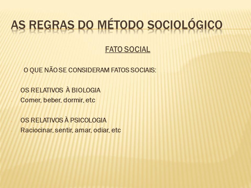 FATO SOCIAL O QUE NÃO SE CONSIDERAM FATOS SOCIAIS: - OS RELATIVOS À BIOLOGIA - Comer, beber, dormir, etc - OS RELATIVOS À PSICOLOGIA - Raciocinar, sen