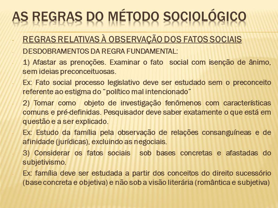 - REGRAS RELATIVAS À OBSERVAÇÃO DOS FATOS SOCIAIS - DESDOBRAMENTOS DA REGRA FUNDAMENTAL: - 1) Afastar as prenoções. Examinar o fato social com isenção