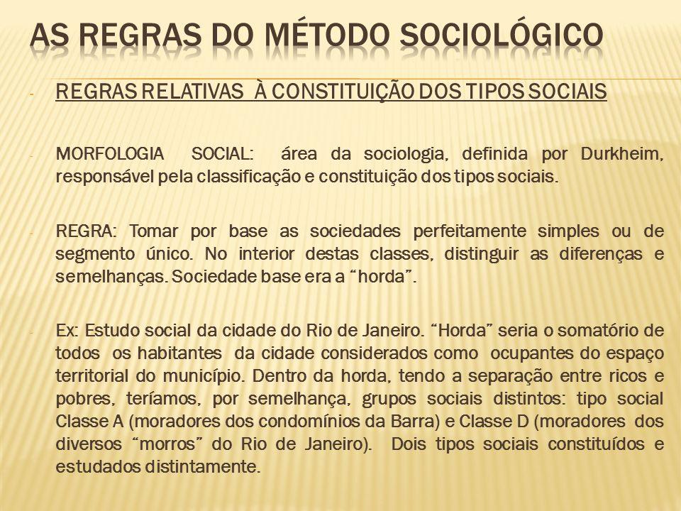 - REGRAS RELATIVAS À CONSTITUIÇÃO DOS TIPOS SOCIAIS - MORFOLOGIA SOCIAL: área da sociologia, definida por Durkheim, responsável pela classificação e c