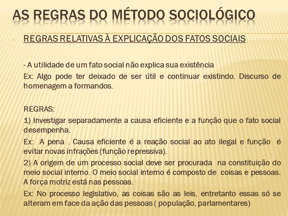 - REGRAS RELATIVAS À EXPLICAÇÃO DOS FATOS SOCIAIS - - A utilidade de um fato social não explica sua existência - Ex: Algo pode ter deixado de ser útil