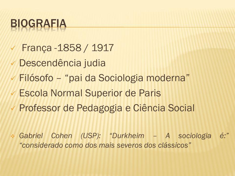 Resultado do que a sociedade determina como ser Individuo Sociedade FATO SOCIAL Hobbes e Rousseau contrato social (acordo voluntário, estados individuais que explicam os fatos sociais) Durkheim - fatos explicam os indivíduos.