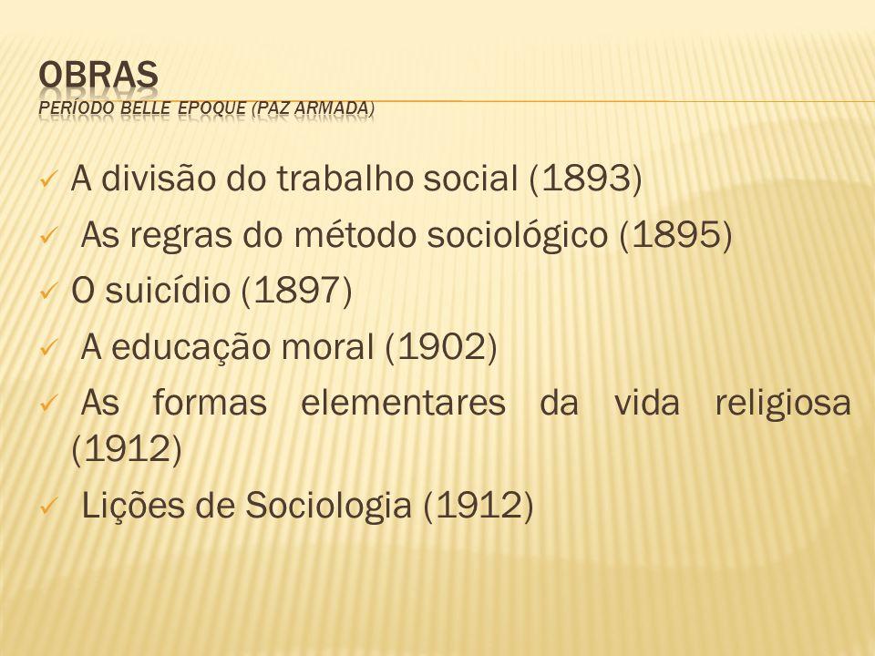A divisão do trabalho social (1893) As regras do método sociológico (1895) O suicídio (1897) A educação moral (1902) As formas elementares da vida rel
