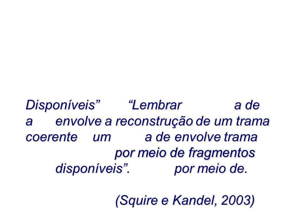 LembrarLembrar envolve a reconstrução de um trama coerente por meio de fragmentos disponíveis. (Squire e Kandel, 2003) Disponíveis a de a uma deenvolv