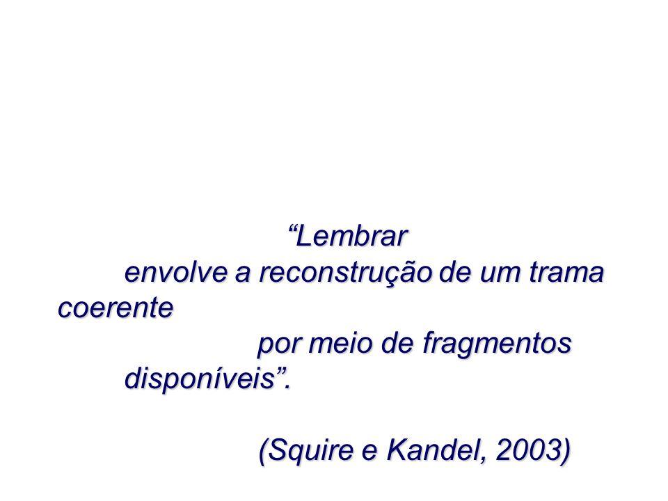 LembrarLembrar envolve a reconstrução de um trama coerente por meio de fragmentos disponíveis. (Squire e Kandel, 2003)