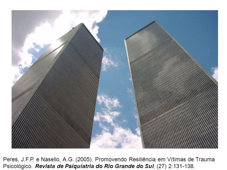 Peres, J.F.P. e Nasello, A.G. (2005). Promovendo Resiliência em Vítimas de Trauma Psicológico. Revista de Psiquiatria do Rio Grande do Sul, (27) 2:131
