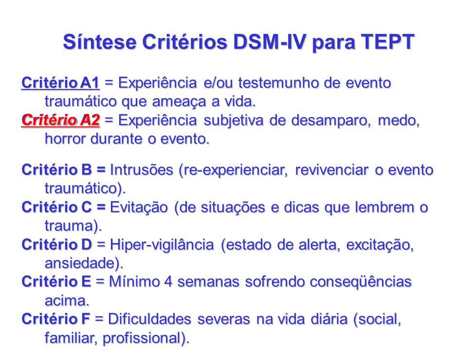 Síntese Critérios DSM-IV para TEPT Critério A1 = Experiência e/ou testemunho de evento traumático que ameaça a vida. Critério A2 = Experiência subjeti