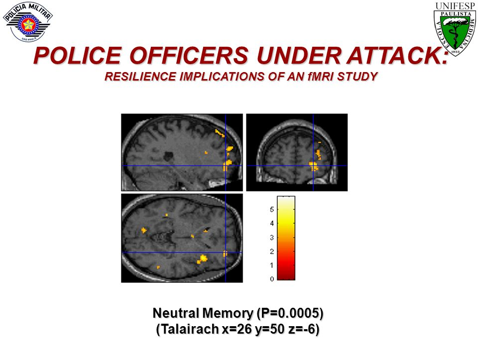 Neutral Memory (P=0.0005) (Talairach x=26 y=50 z=-6) POLICE OFFICERS UNDER ATTACK: RESILIENCE IMPLICATIONS OF AN fMRI STUDY