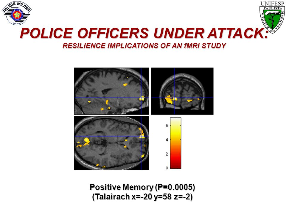 Positive Memory (P=0.0005) (Talairach x=-20 y=58 z=-2) POLICE OFFICERS UNDER ATTACK: RESILIENCE IMPLICATIONS OF AN fMRI STUDY