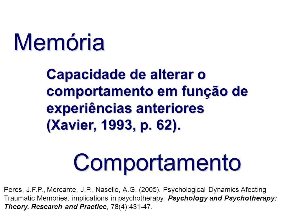 Memória Comportamento Capacidade de alterar o comportamento em função de experiências anteriores (Xavier, 1993, p. 62). Peres, J.F.P., Mercante, J.P.,