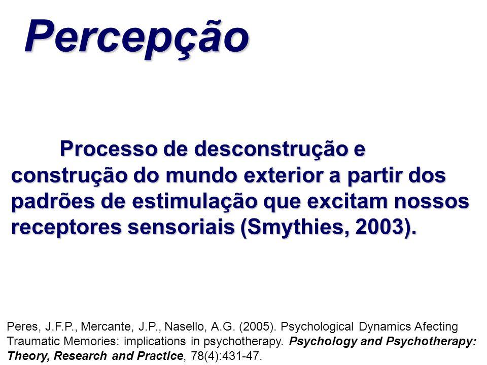 Processo de desconstrução e construção do mundo exterior a partir dos padrões de estimulação que excitam nossos receptores sensoriais (Smythies, 2003)