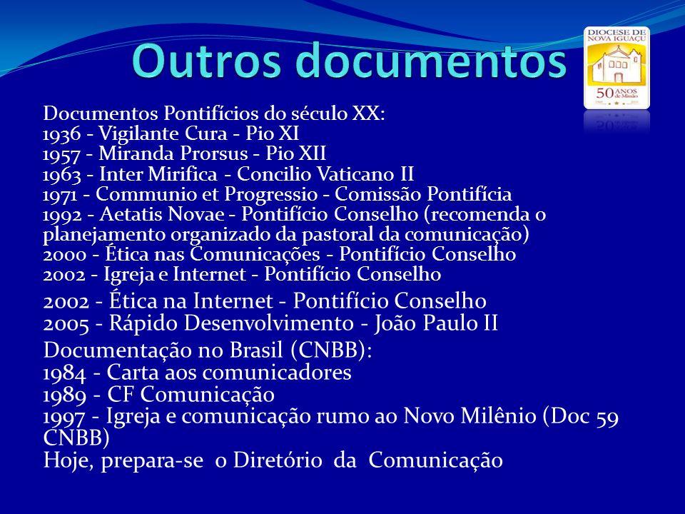 Documentos Pontifícios do século XX: 1936 - Vigilante Cura - Pio XI 1957 - Miranda Prorsus - Pio XII 1963 - Inter Mirifica - Concilio Vaticano II 1971