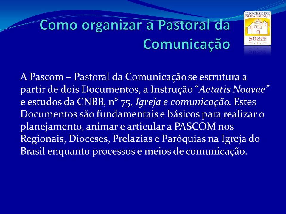 A Pascom – Pastoral da Comunicação se estrutura a partir de dois Documentos, a Instrução Aetatis Noavae e estudos da CNBB, n° 75, Igreja e comunicação