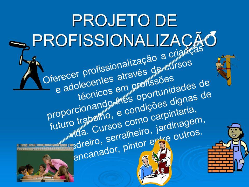 PROJETO DE PROFISSIONALIZAÇÃO Oferecer profissionalização a crianças e adolecentes através de cursos técnicos em profissões proporcionando-lhes oportunidades de futuro trabalho, e condições dignas de vida.