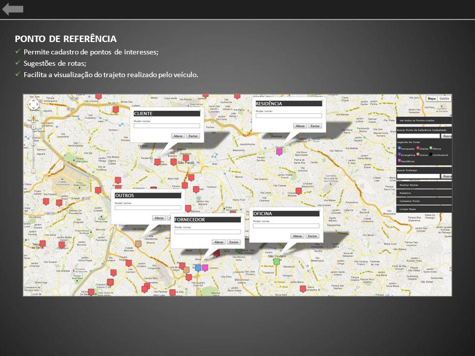 PONTO DE REFERÊNCIA Permite cadastro de pontos de interesses; Sugestões de rotas; Facilita a visualização do trajeto realizado pelo veículo.