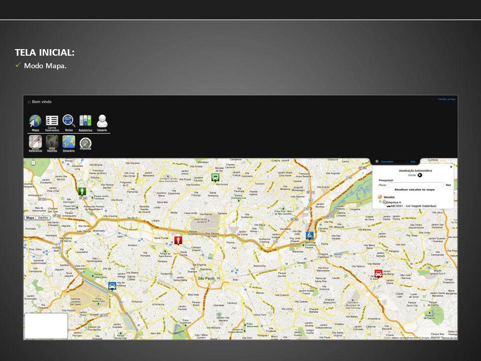 TELA INICIAL: Ao clicar no veículo será exibido informações detalhadas do veículo e atalhos para ferramentas de logística; Visualização através das ferramentas da API Google Maps Premier.