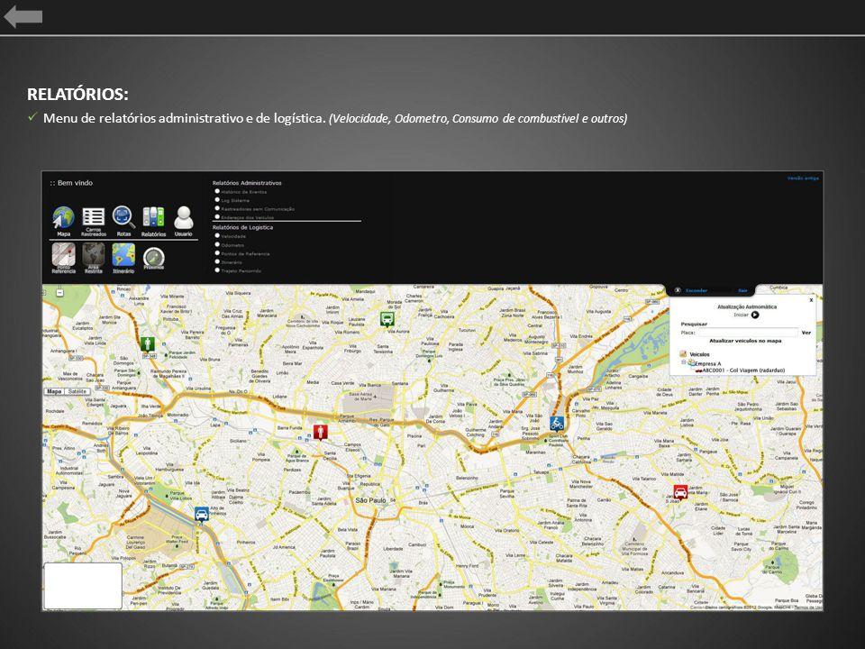 ITINERARIO Configura pontos de (chegada / entrega), utilizando dados da ferramenta Ponto de Referência; A área cinza delimita a rota sugerida; Otimiza a logística, gerenciando o trajeto e o tempo da rota; Envio de Alertas por E-mail e SMS* (item em desenvolvimento)