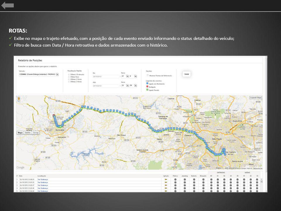 ROTAS: Exibe no mapa o trajeto efetuado, com a posição de cada evento enviado informando o status detalhado do veículo; Filtro de busca com Data / Hor