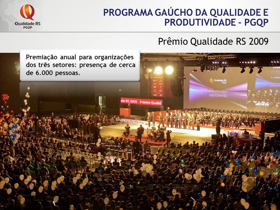 PROGRAMA GAÚCHO DA QUALIDADE E PRODUTIVIDADE - PGQP Prêmio Qualidade RS 2009 Premiação anual para organizações dos três setores: presença de cerca de