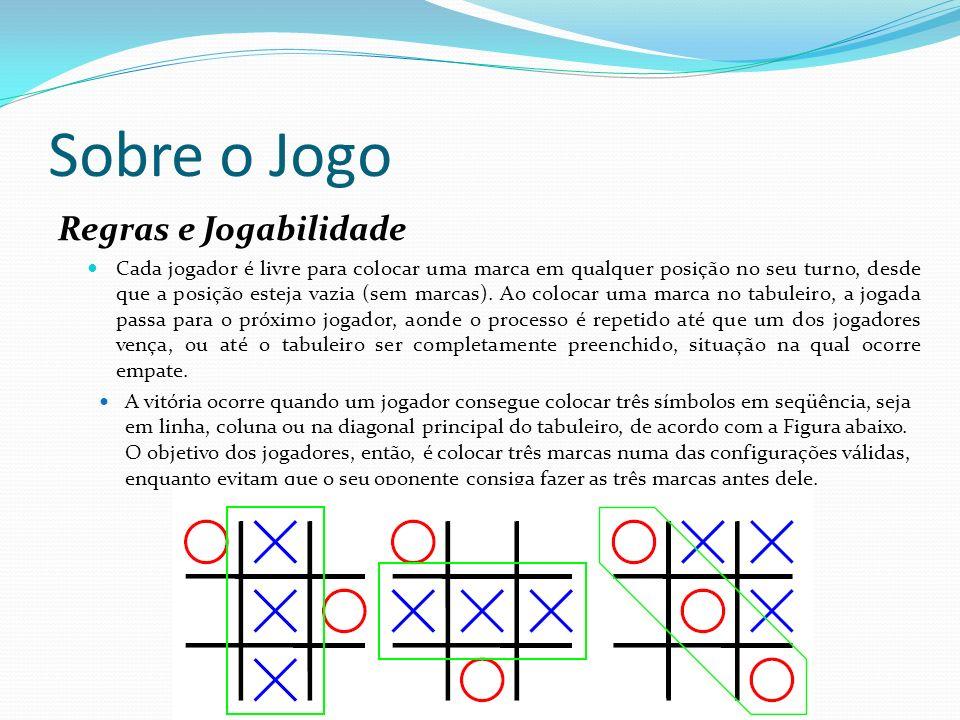 Sobre o Jogo Regras e Jogabilidade Cada jogador é livre para colocar uma marca em qualquer posição no seu turno, desde que a posição esteja vazia (sem marcas).