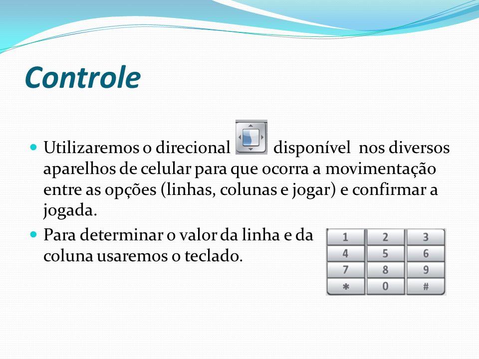 Controle Utilizaremos o direcional disponível nos diversos aparelhos de celular para que ocorra a movimentação entre as opções (linhas, colunas e jogar) e confirmar a jogada.