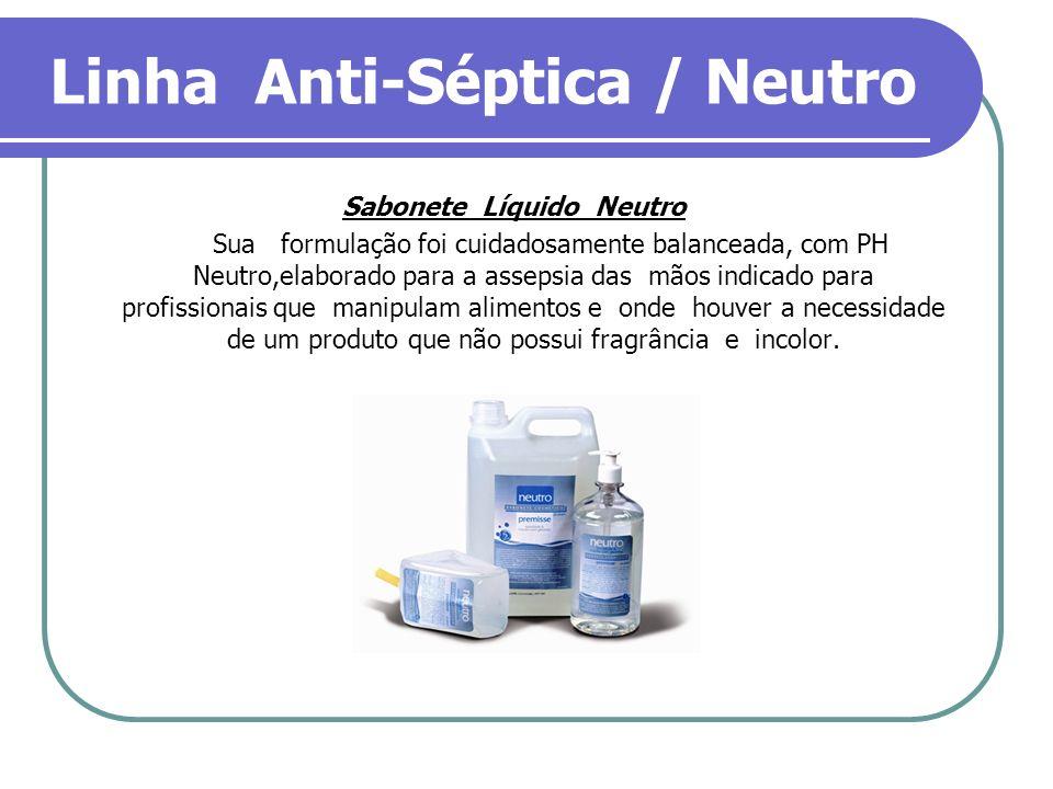 Linha Anti-Séptica / Neutro Sabonete Líquido Neutro Sua formulação foi cuidadosamente balanceada, com PH Neutro,elaborado para a assepsia das mãos ind