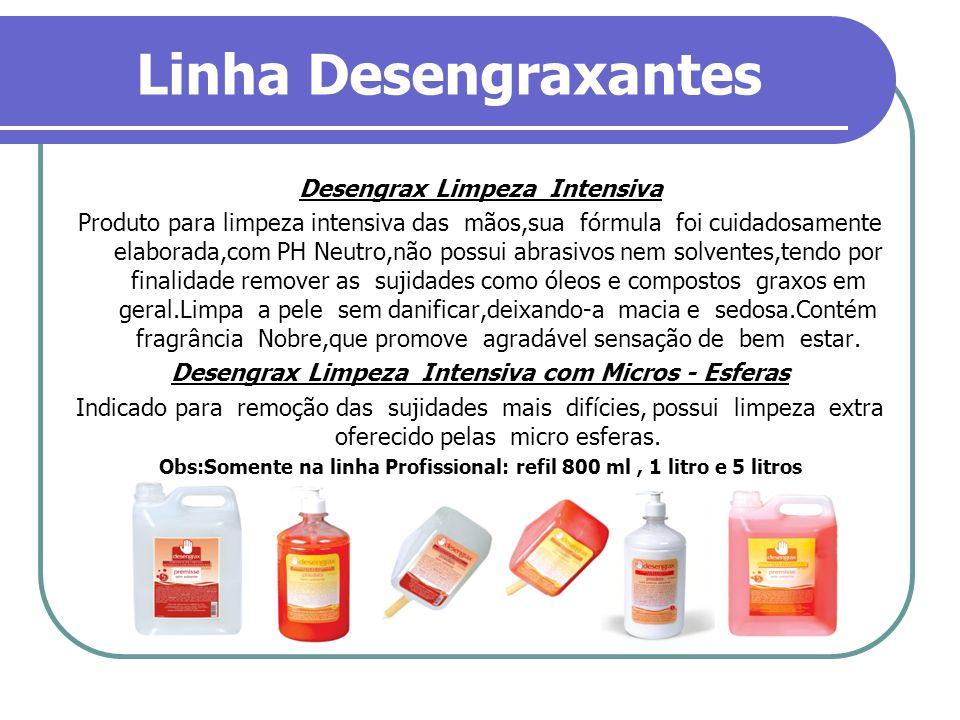Linha Desengraxantes Desengrax Limpeza Intensiva Produto para limpeza intensiva das mãos,sua fórmula foi cuidadosamente elaborada,com PH Neutro,não po