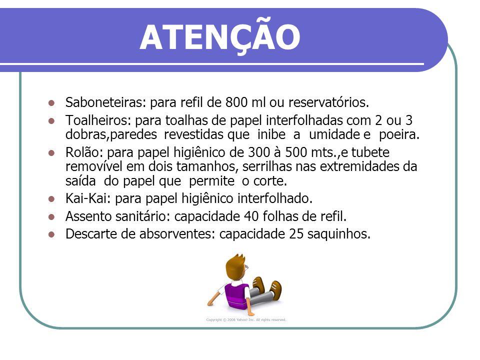ATENÇÃO Saboneteiras: para refil de 800 ml ou reservatórios. Toalheiros: para toalhas de papel interfolhadas com 2 ou 3 dobras,paredes revestidas que