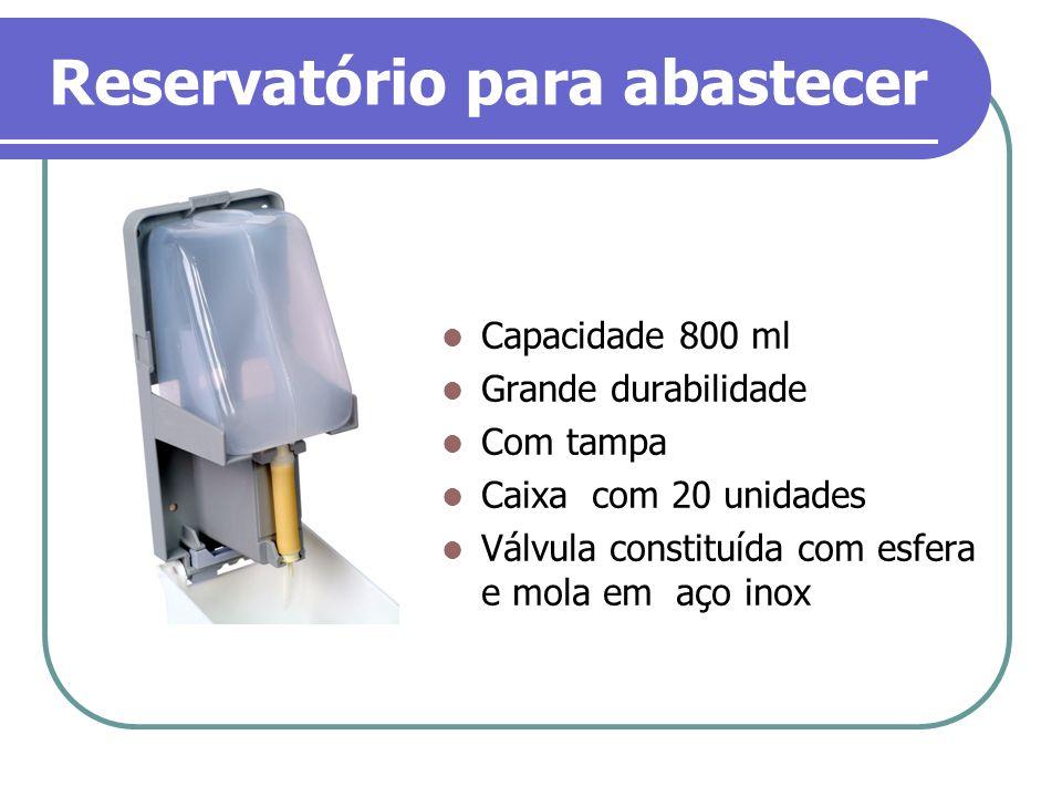 Reservatório para abastecer Capacidade 800 ml Grande durabilidade Com tampa Caixa com 20 unidades Válvula constituída com esfera e mola em aço inox