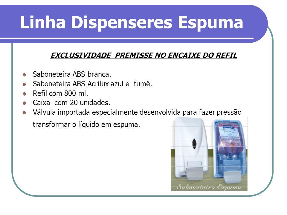 Linha Dispenseres Espuma EXCLUSIVIDADE PREMISSE NO ENCAIXE DO REFIL Saboneteira ABS branca. Saboneteira ABS Acrilux azul e fumê. Refil com 800 ml. Cai