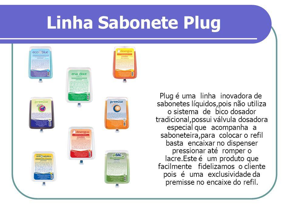 Linha Sabonete Plug Plug é uma linha inovadora de sabonetes líquidos,pois não utiliza o sistema de bico dosador tradicional,possui válvula dosadora es