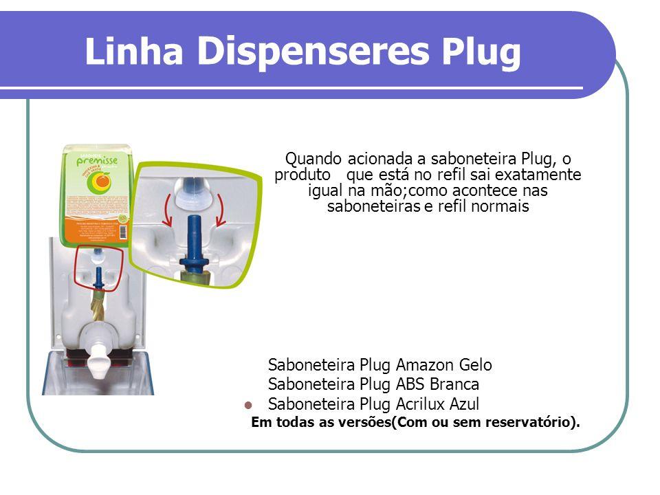 Linha Dispenseres Plug Quando acionada a saboneteira Plug, o produto que está no refil sai exatamente igual na mão;como acontece nas saboneteiras e re