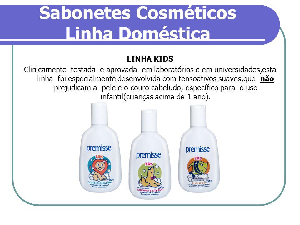 Sabonetes Cosméticos Linha Doméstica LINHA KIDS Clinicamente testada e aprovada em laboratórios e em universidades,esta linha foi especialmente desenv