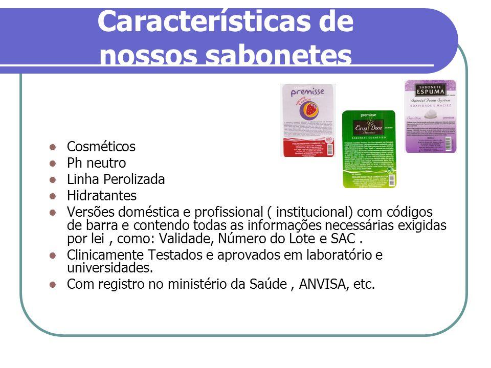 Características de nossos sabonetes Cosméticos Ph neutro Linha Perolizada Hidratantes Versões doméstica e profissional ( institucional) com códigos de