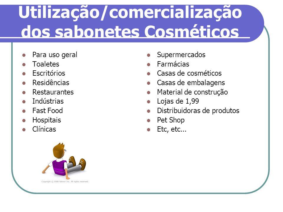 Utilização/comercialização dos sabonetes Cosméticos Para uso geral Toaletes Escritórios Residências Restaurantes Indústrias Fast Food Hospitais Clínic