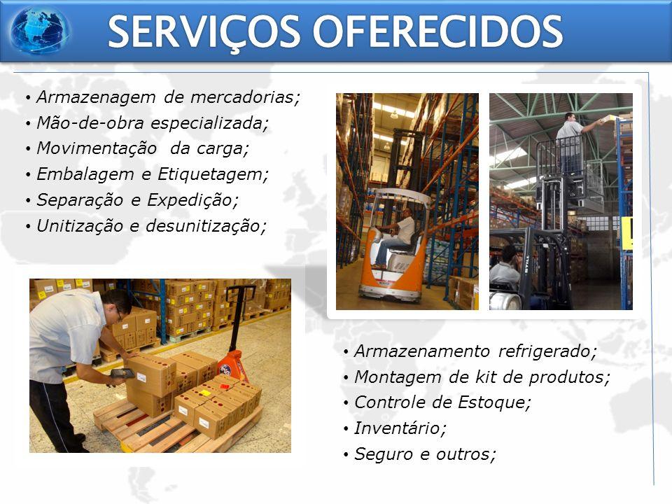 Armazenagem de mercadorias; Mão-de-obra especializada; Movimentação da carga; Embalagem e Etiquetagem; Separação e Expedição; Unitização e desunitizaç