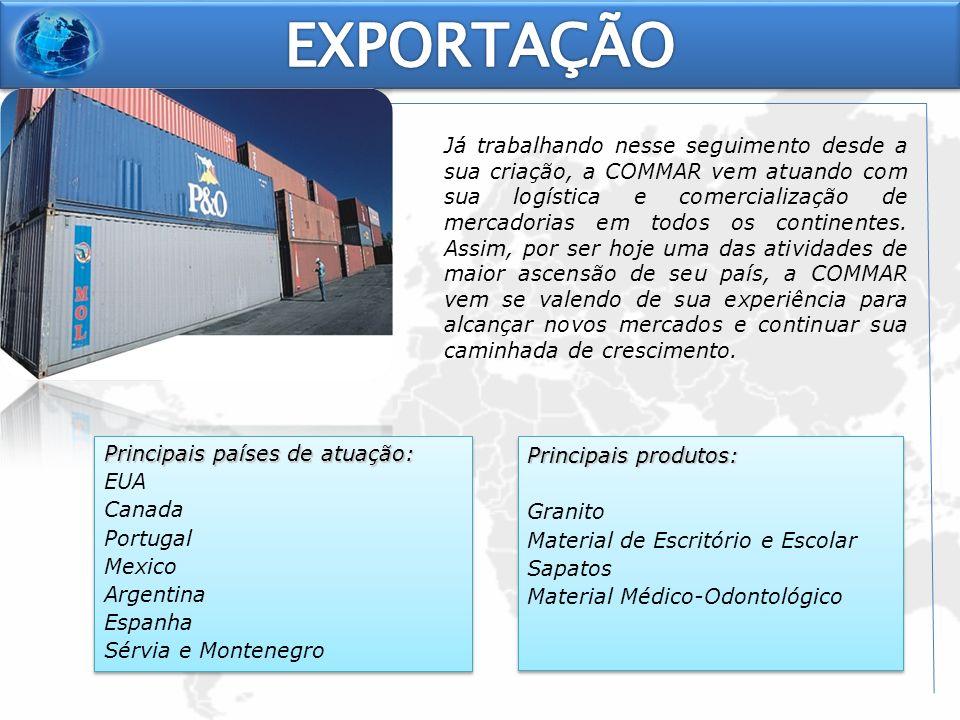Já trabalhando nesse seguimento desde a sua criação, a COMMAR vem atuando com sua logística e comercialização de mercadorias em todos os continentes.