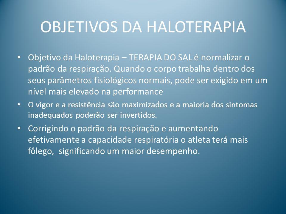OBJETIVOS DA HALOTERAPIA Objetivo da Haloterapia – TERAPIA DO SAL é normalizar o padrão da respiração. Quando o corpo trabalha dentro dos seus parâmet