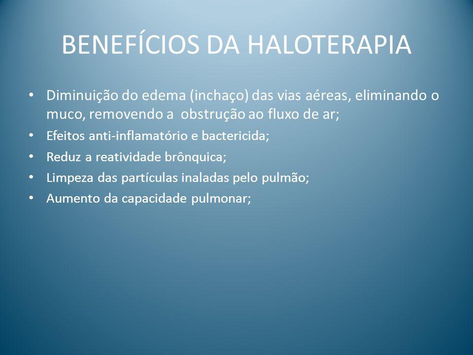 BENEFÍCIOS DA HALOTERAPIA Diminuição do edema (inchaço) das vias aéreas, eliminando o muco, removendo a obstrução ao fluxo de ar; Efeitos anti-inflama