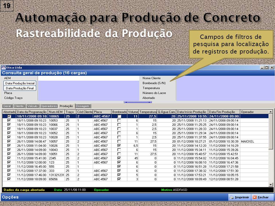Rastreabilidade da Produção Campos de filtros de pesquisa para localização de registros de produção. 19