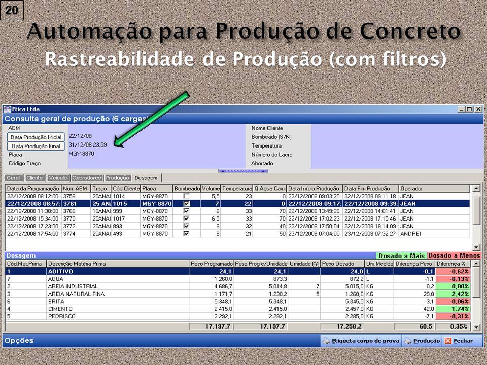 Rastreabilidade de Produção (com filtros) 20