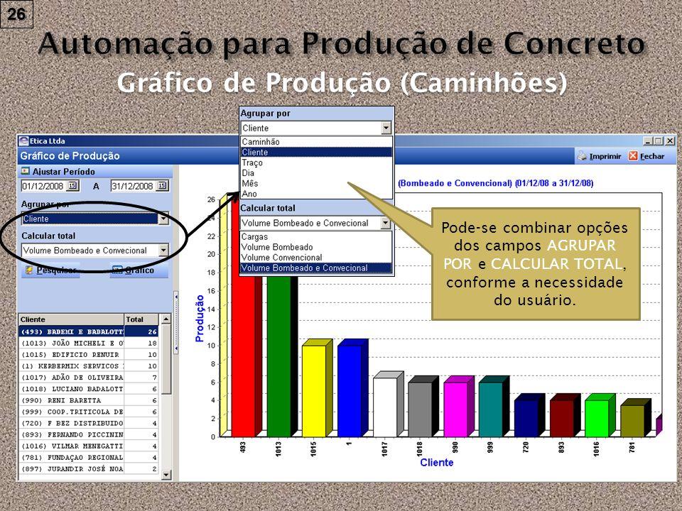 26 Gráfico de Produção (Caminhões) Pode-se combinar opções dos campos AGRUPAR POR e CALCULAR TOTAL, conforme a necessidade do usuário.