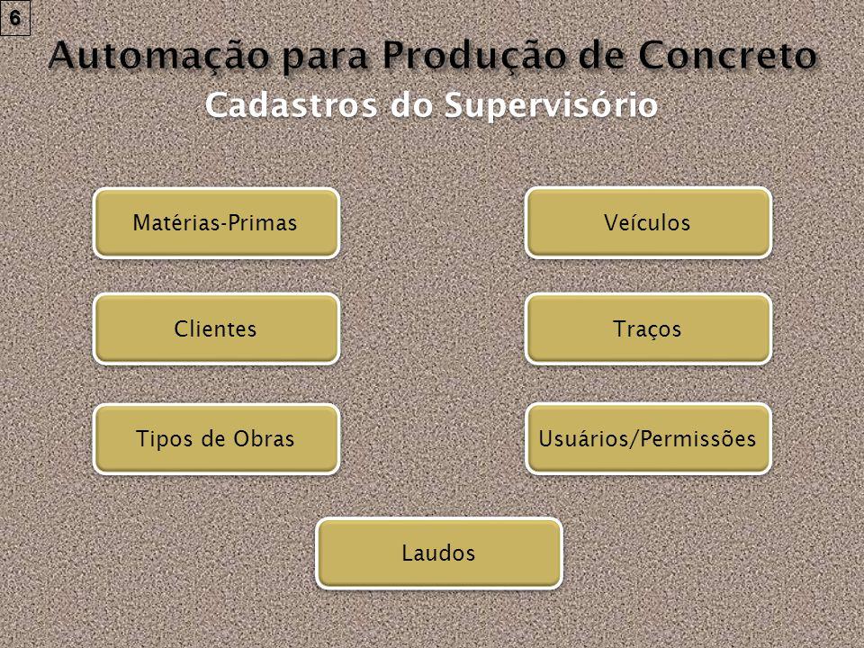 Matérias-Primas Veículos Traços Clientes Usuários/Permissões Tipos de Obras Cadastros do Supervisório 6 Laudos