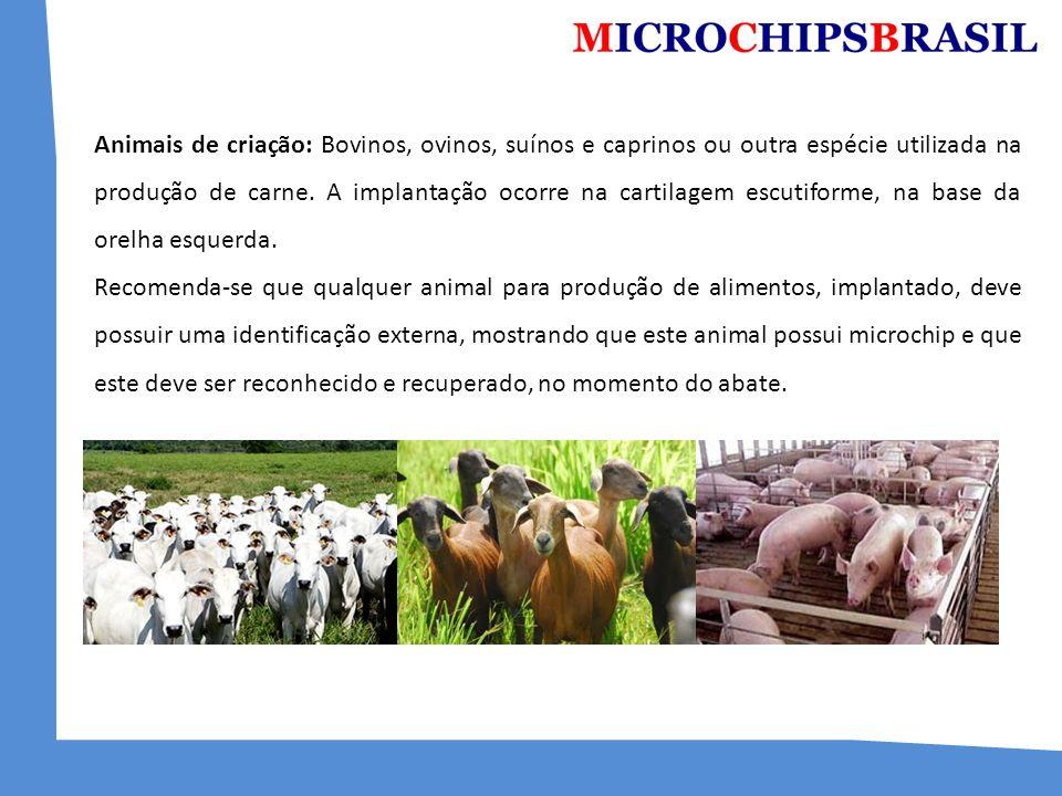Animais de criação: Bovinos, ovinos, suínos e caprinos ou outra espécie utilizada na produção de carne. A implantação ocorre na cartilagem escutiforme