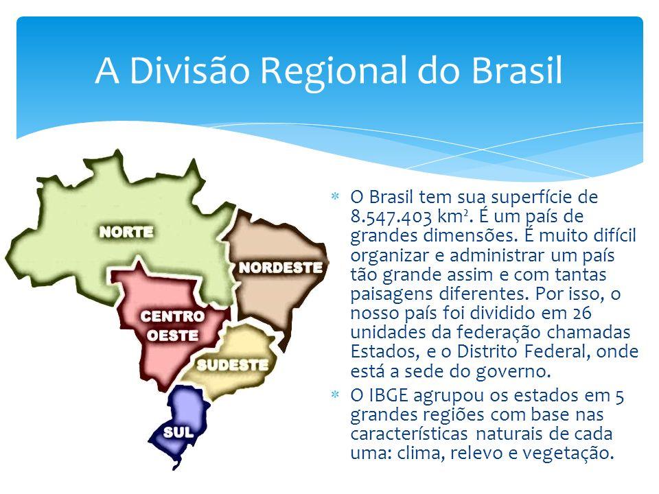 O Brasil tem sua superfície de 8.547.403 km².É um país de grandes dimensões.