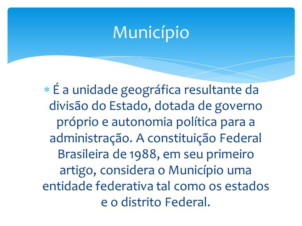 É a unidade geográfica resultante da divisão do Estado, dotada de governo próprio e autonomia política para a administração.