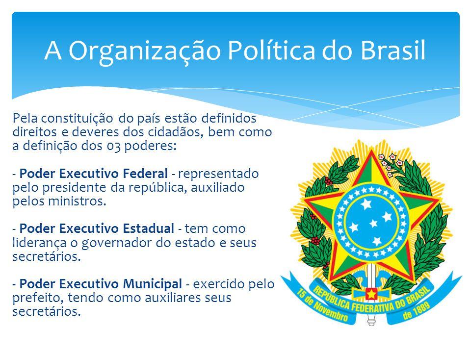 Pela constituição do país estão definidos direitos e deveres dos cidadãos, bem como a definição dos 03 poderes: - Poder Executivo Federal - representa