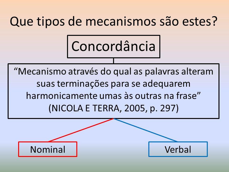 Que tipos de mecanismos são estes? Concordância Mecanismo através do qual as palavras alteram suas terminações para se adequarem harmonicamente umas à