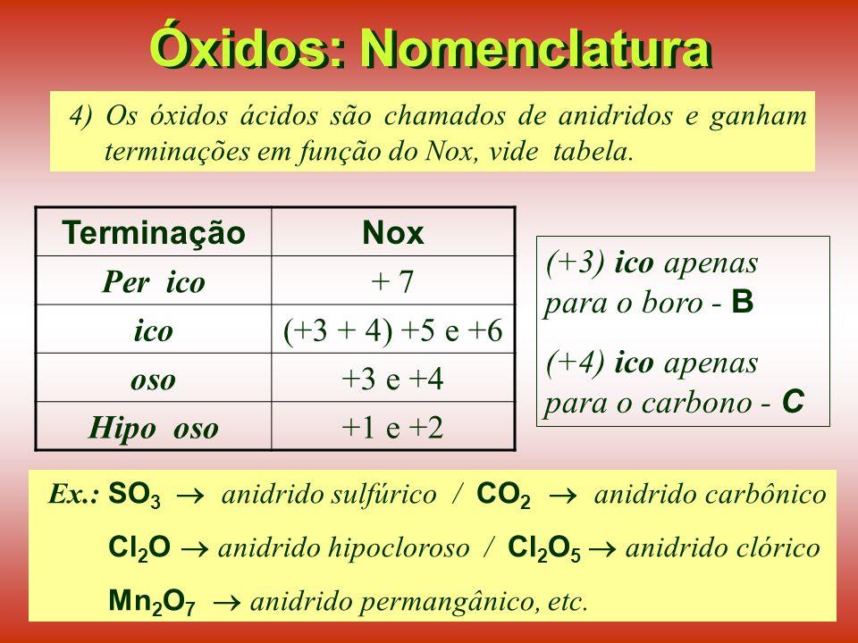 Óxidos: Nomenclatura 2) A nomenclatura dos óxidos também pode ser feita indicando-se prefixos (mono, di, tri, etc.) para o número de átomos de cada elemento: Ex.: Cl 2 O 5 pentóxido de dicloro.