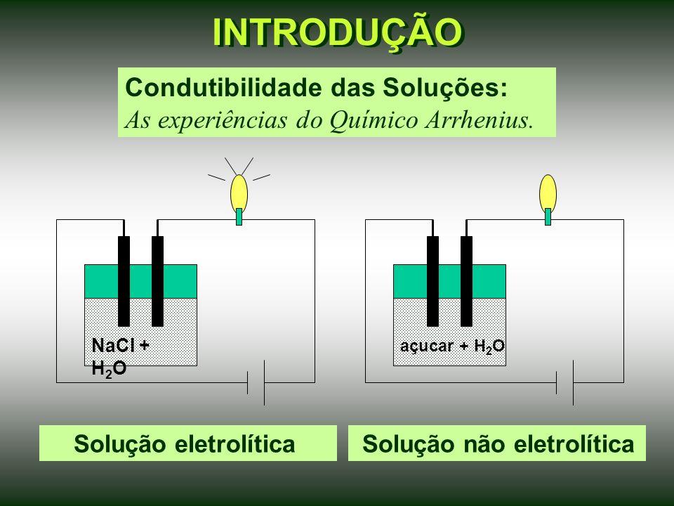 INTRODUÇÃO Solução eletrolítica Condutibilidade das Soluções: As experiências do Químico Arrhenius.